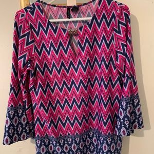 Pink and navy chevron blouse with flare sleeves